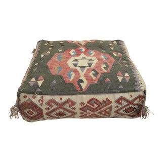 Turkish Hand Woven Kilim Floor Pillow Cushion Cover - 24″ X 24″