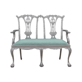 Chippendale-Style Silver Settee
