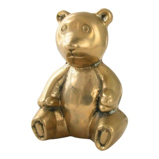 Brass Teddy Bear Bank