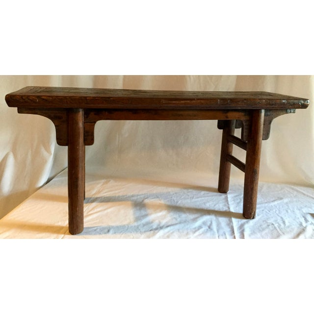 Primitive Chinese Oak Bench - Image 2 of 4