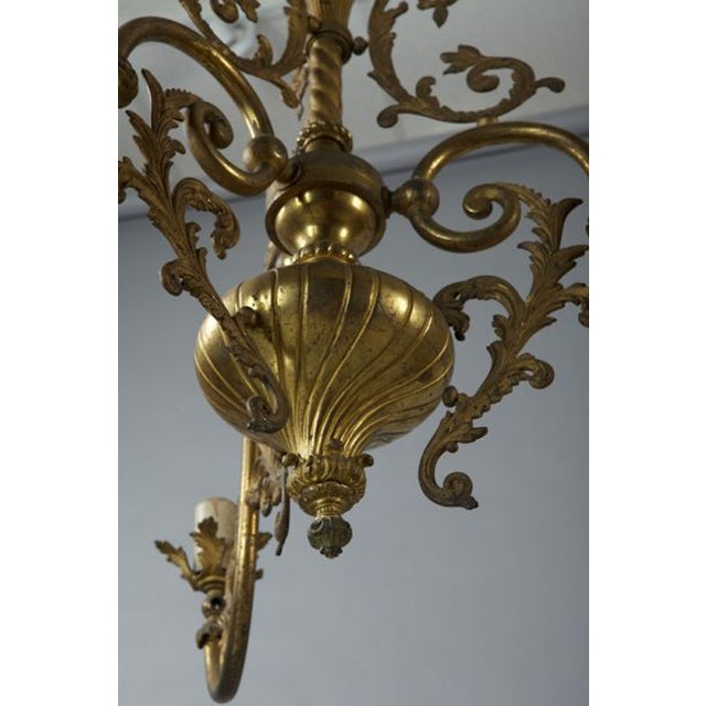 French Three Light Solid Cast Brass Chandelier - Image 6 of 8