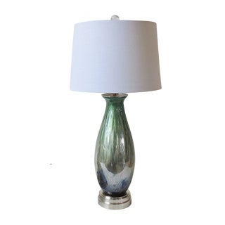 Vintage Blue, Green & Gold Blown Glass Lamp