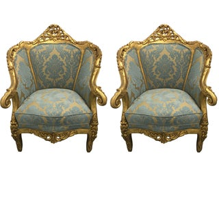 Antique French Louis XV Gilt Wood Chairs - Pair