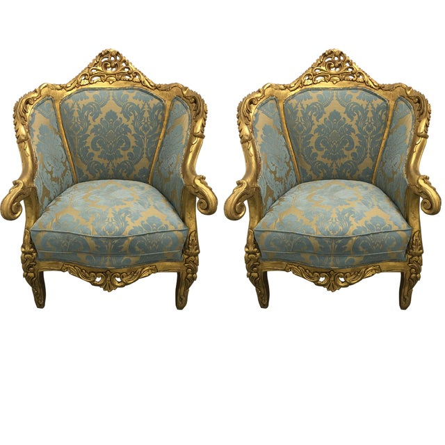 Antique French Louis XV Gilt Wood Chairs - Pair - Image 1 of 11