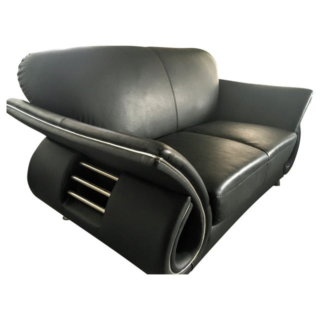 Image of Modern Black Leather Loveseat With Chrome Accents