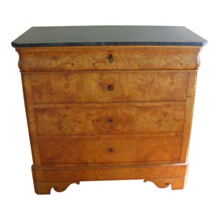 French Walnut Burl and Marble Chest Early from 1900s