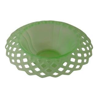 Vintage Tiffin Green Satin Glass Bowl