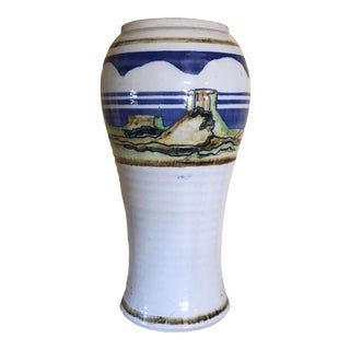 "13.5"" Studio Pottery Vintage Hand Painted Vase"