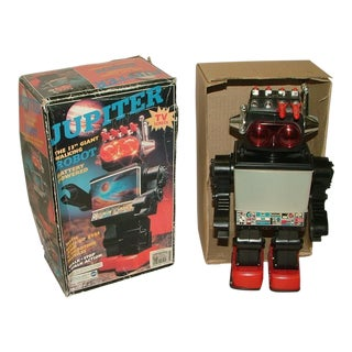 Vintage Retro Toy Robot Jupiter Complete With Box 13 Inches Tall Rare Complete Working Decorator Piece