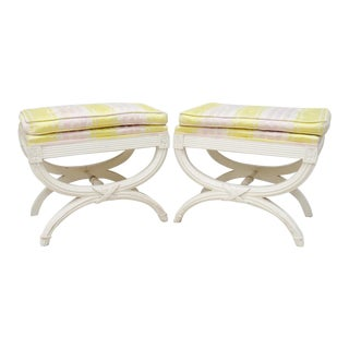 Directoire Style Painted X-Footstools - a PAir