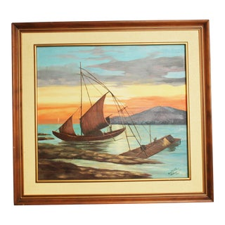Vintage Asian Boat with Sunset Framed Oil Painting