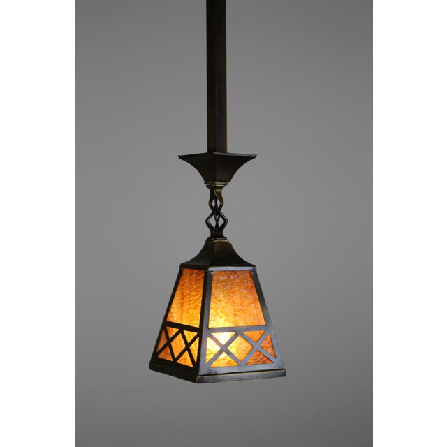 Arts & Crafts Style Pendant Fixture. - Image 4 of 7