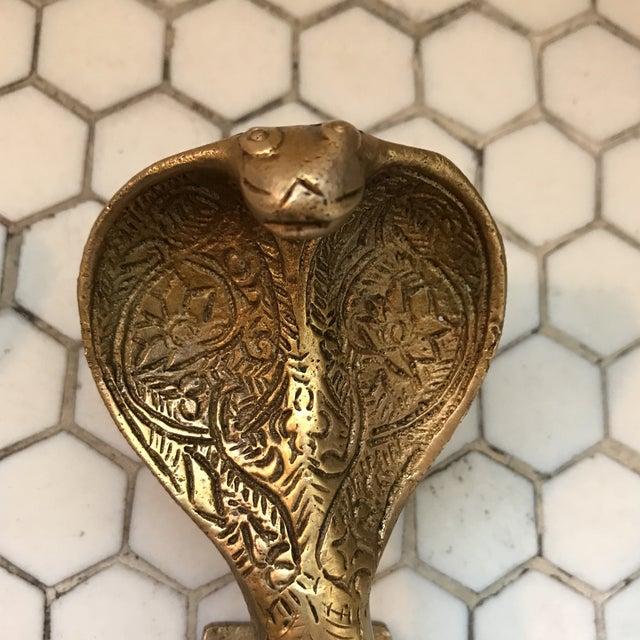 Hollywood Regency Gold Brass Cobra Door Handles- a Pair - Image 4 of 11
