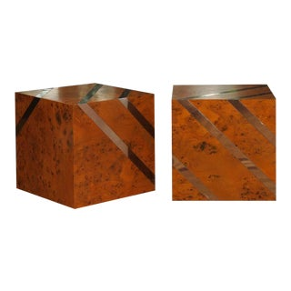 Exceptional Restored Pair of Olivewood and Nickel Cubes