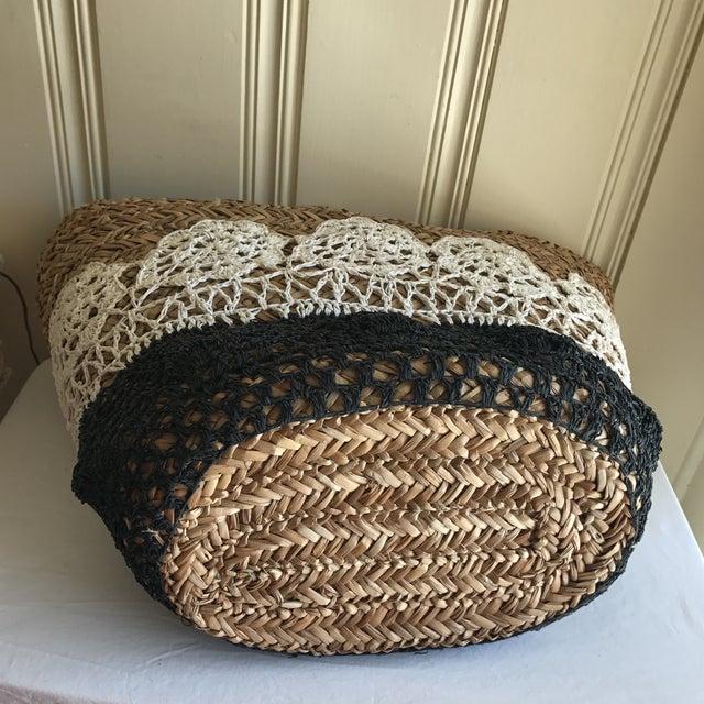 Large Boho Lined Jute Market Basket - Image 6 of 8