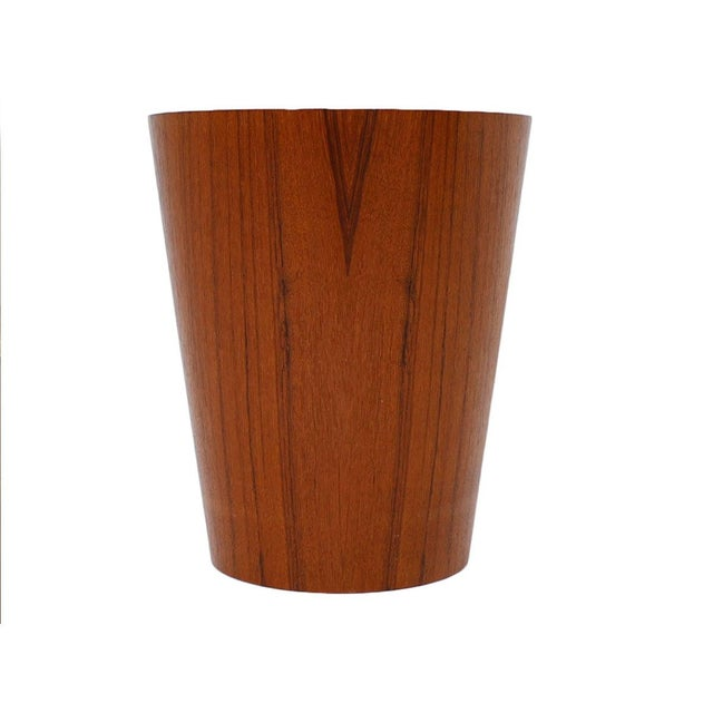 Small Danish Modern Teak Waste Basket - Image 2 of 4