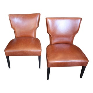 1950s Leather Slipper Chairs - A Pair