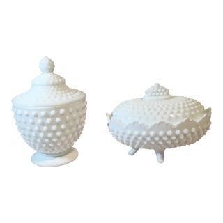 Fenton Hobnail Milk Glass Candy Dishes - A Pair