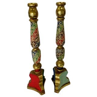 Tall Gilded Antique Candlesticks - Pair