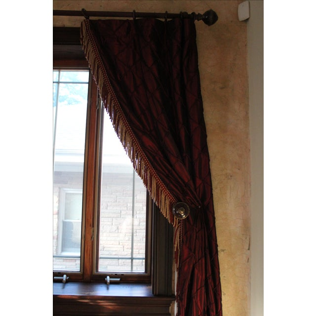 Victorian Style Drapes in Burgundy - A Pair - Image 5 of 10