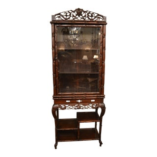 Antique 19th Century Teakwood Display Cabinet