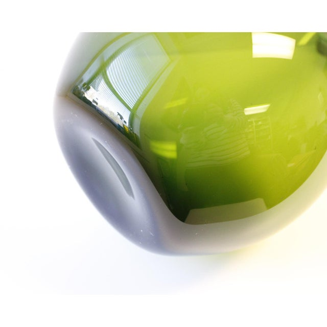 Large Gullaskruf Floor Vase Green Arthur Percy Sweden Art Glass - Image 3 of 5