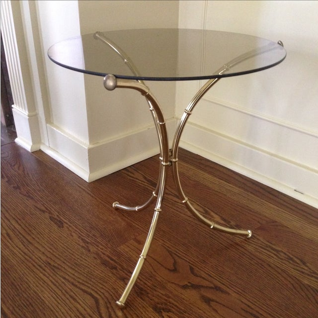 Vintage Faux Bamboo Accent Table - Image 2 of 11