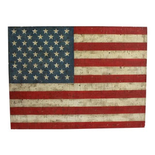 Hand-Painted Antiqued American Flag Painting