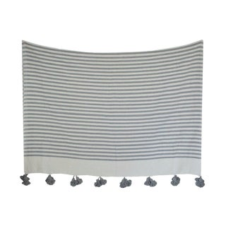 Moroccan Pom Pom Blanket, Grey and White Stripes With Grey Pom Poms