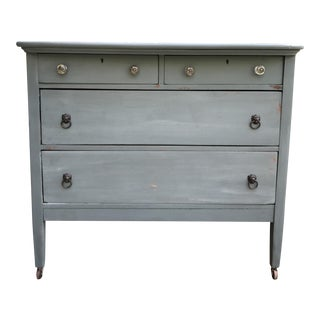 Antique Teal Green Milk Paint Finish Dresser