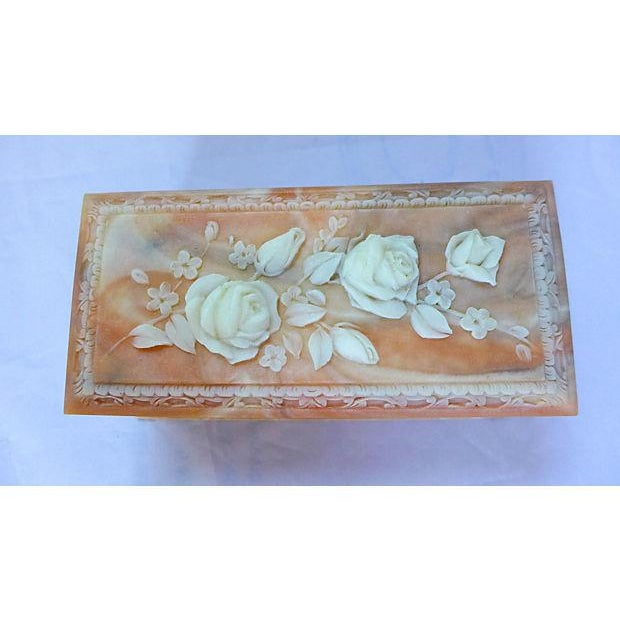 Vintage Floral Cameo Pink Jewelry Box - Image 2 of 6