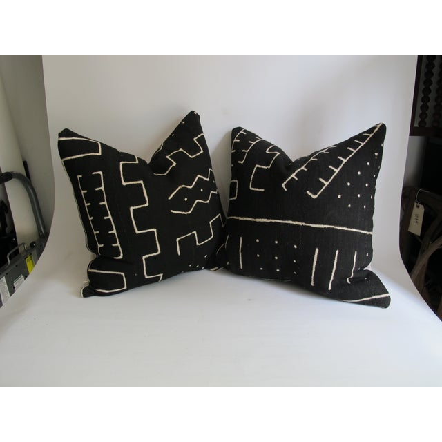Black Kuba Cloth Pillows - A Pair - Image 2 of 8
