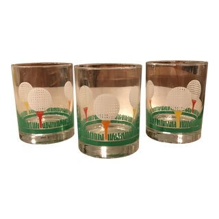 Vintage Golf Tumbler Glass - Set of 3