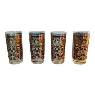Vintage Black & Gold Glasses - Set of 4