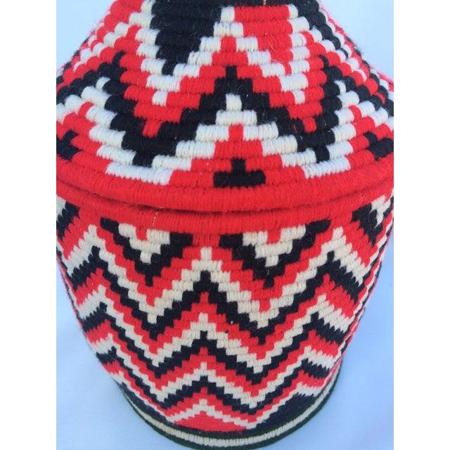 Vintage Red Moroccan Basket - Image 2 of 4