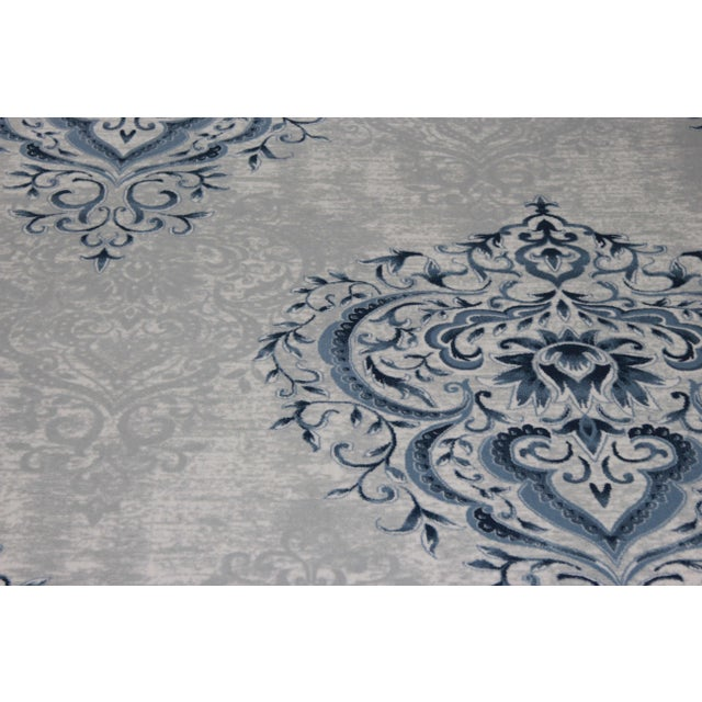 Blue Ivory Damask Rug - 5' x 8' - Image 3 of 5