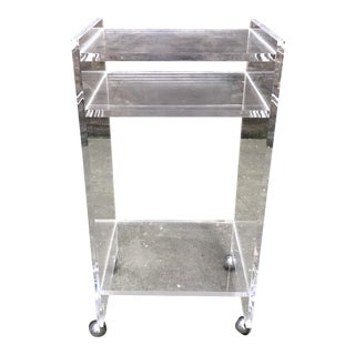 Lucite Rolling Side Table