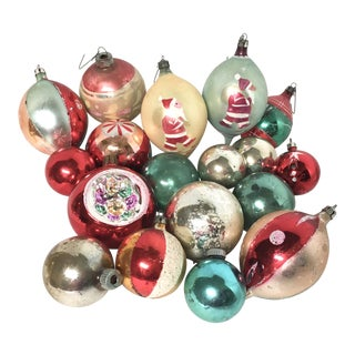 Vintage Glass Christmas Ornaments Set of 18