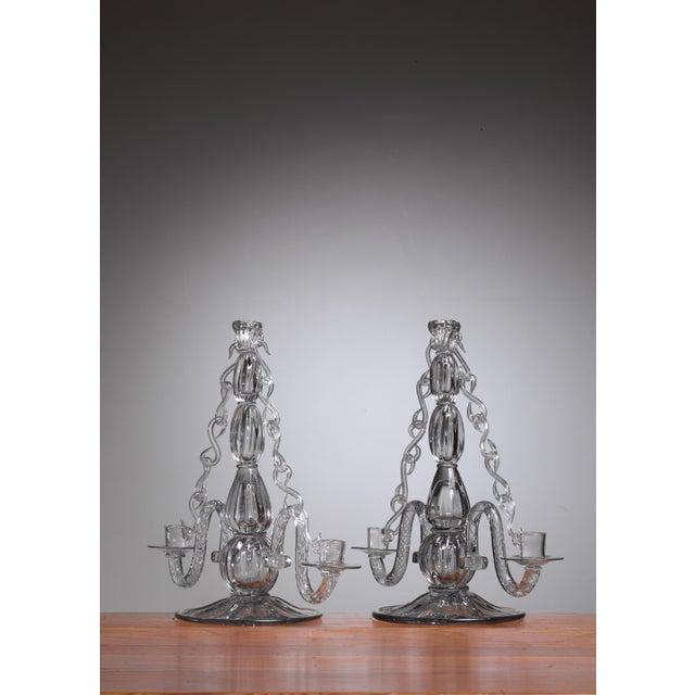 Gerda Stromberg and Knut Bergqvist Pair of Glass Candelabra, Sweden, 1941 - Image 2 of 3
