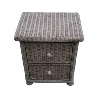 Two-Drawer Wicker Nightstand