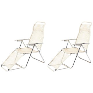 "Pair Vintage French Adjustable ""Chaises Longues"""