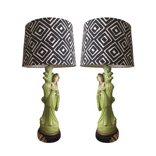 1950s Chinoiserie ChalkWare Lamps - A Pair