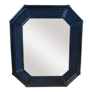 "42"" Chinoiserie Black Octagonal Rattan Wicker Mirror"