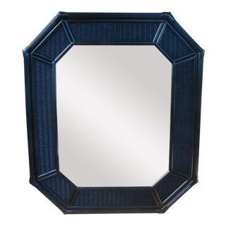 Chinoiserie Black Octagonal Rattan Wicker Mirror