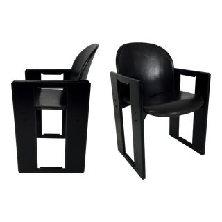 Four Leather Dialogo Dining Chairs by Afra and Tobia Scarpa for B&B Italia