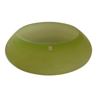 German Zwiesel Monumental Mid-Century Green Glass Bowl
