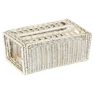 White Wicker Tissue Holder