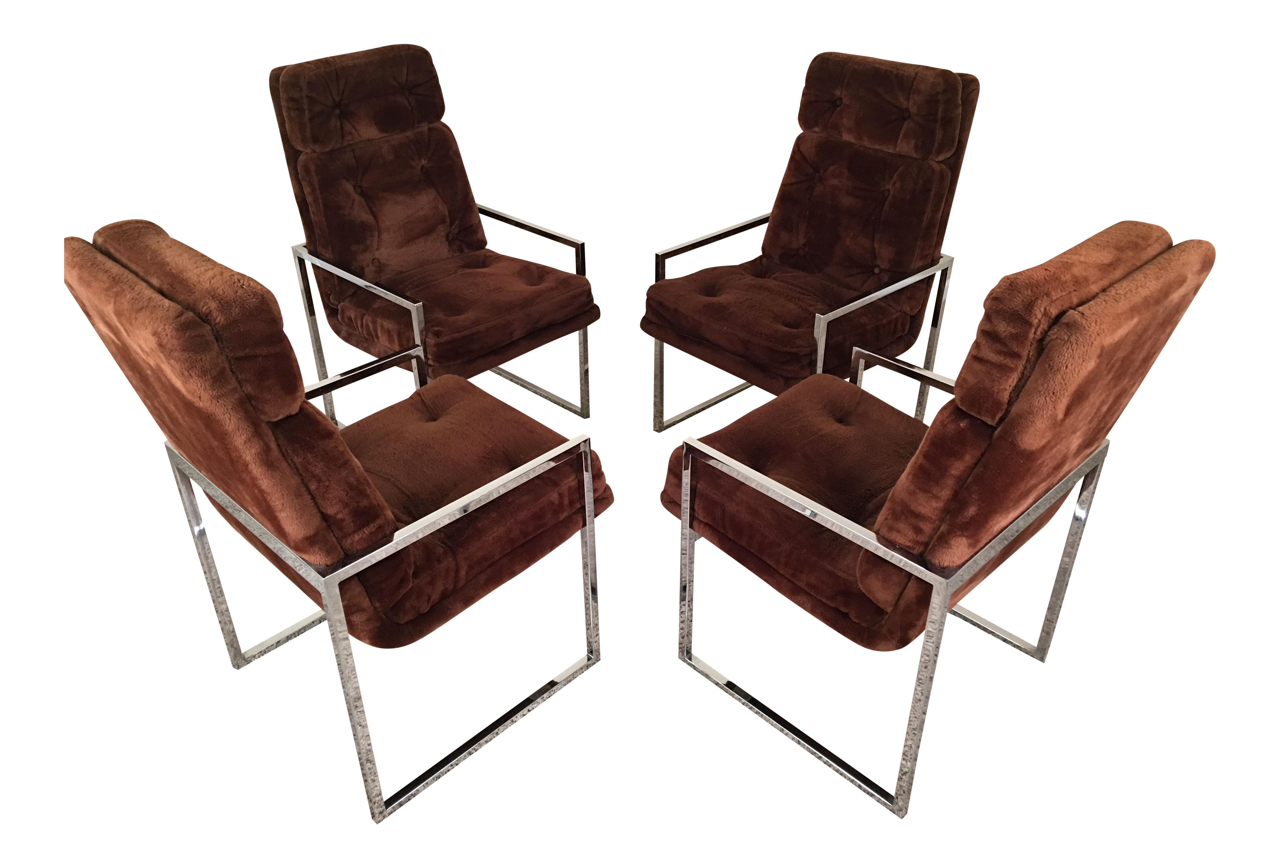 Milo Baughman Style High Back Chrome Dining Chairs, Set Of 4