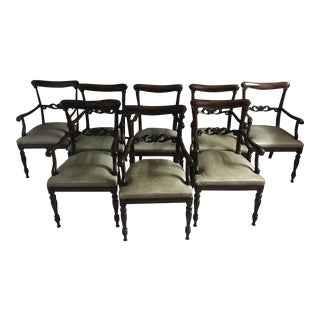 Sage Leather & Mahogany Arm Chairs - Set of 8