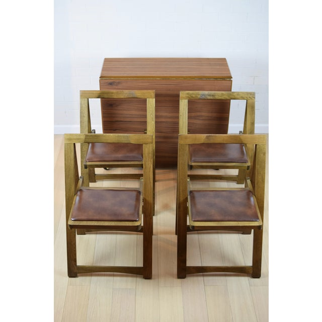 Image of Mid-Century Danish Folding Dining Table & Chairs